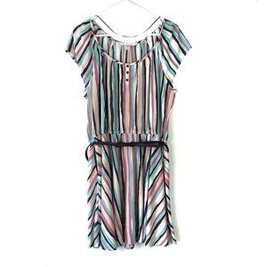 LC Lauren Conrad Multicolored Striped A-line Dress
